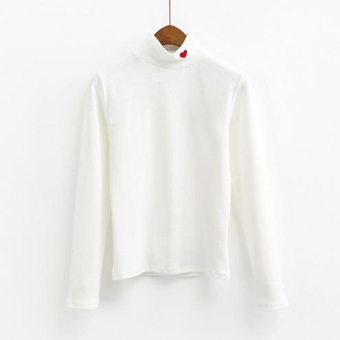itGirl Shop TURTLE NECK HEART EMBROIDERY LONG SLEEVE COTTON BLOUSE