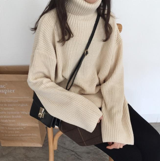 itGirl Shop TURTLE NECK KNIT LONG SLEEVE COZY WARM SWEATER