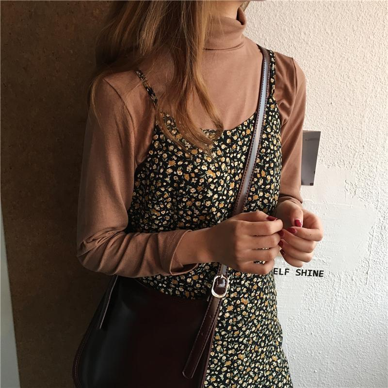 TURTLE NECK THIN LONG SLEEVE SWEET COLORS BLOUSE