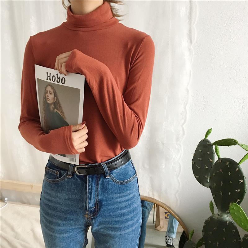 itGirl Shop TURTLE NECK THIN LONG SLEEVE SWEET COLORS BLOUSE