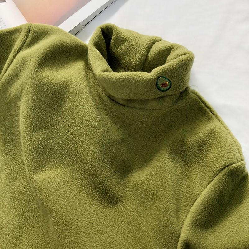 TURTLE NECK WARM LONG SLEEVE CUTE EMBROIDERIES SHIRT