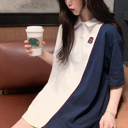 itGirl Shop TWO COLORS STITCHING TUMBLR AESTHETIC LOOSE SHIRT