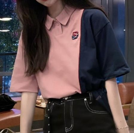 TWO COLORS STITCHING TUMBLR AESTHETIC LOOSE SHIRT