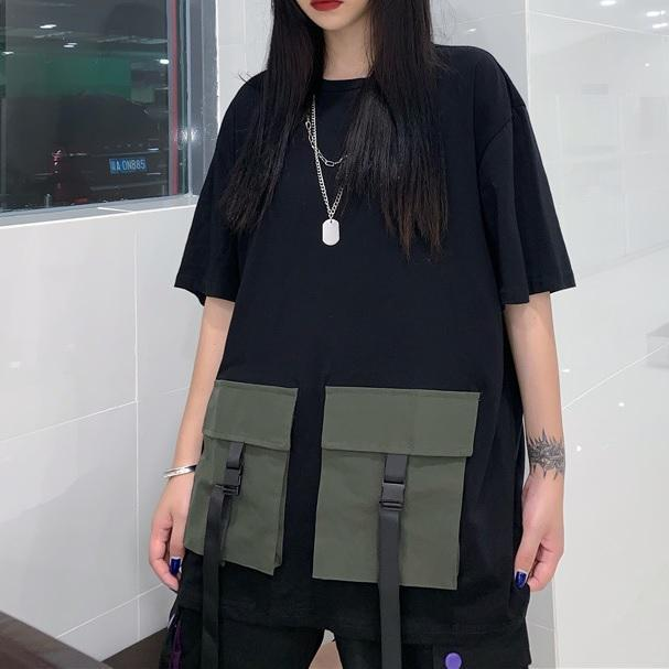 itGirl Shop TWO PIECE GRUNGE AESTHETIC BLACK LOOSE T-SHIRT + BLACK SHORTS