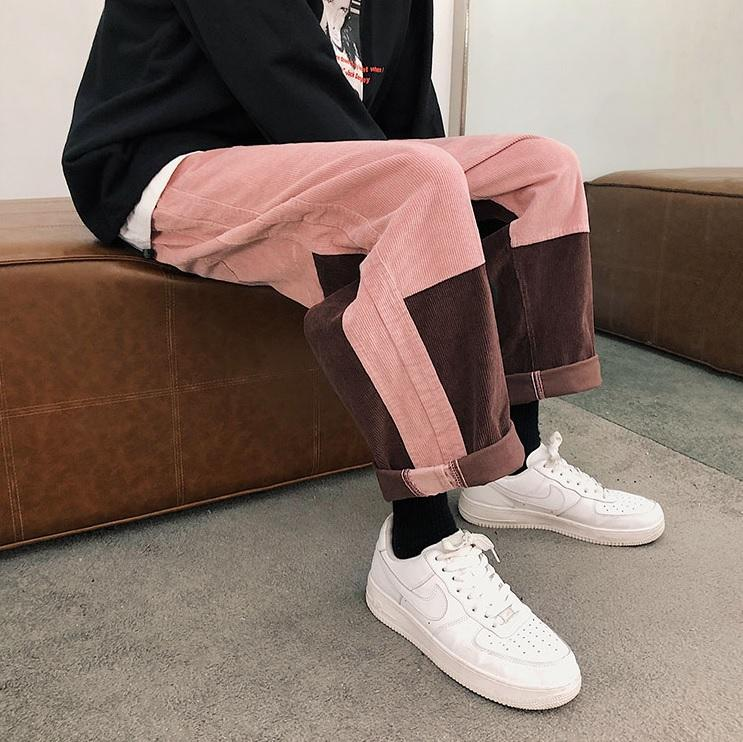 itGirl Shop ULZZANG COLOR BLOCK PINK BLACK CORDUROY LOOSE PANTS