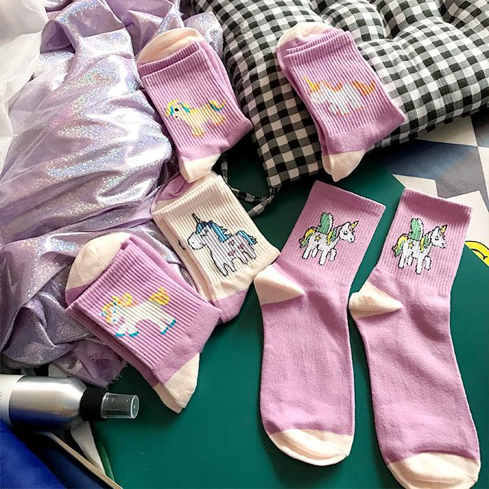 itGirl Shop UNICORN CARTOON PRINT SOCKS