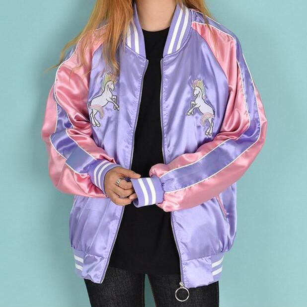 itGirl Shop UNICORN EMBROIDERY BLAZER JACKET Aesthetic Apparel, Tumblr Clothes, Soft Grunge, Pastel goth, Harajuku fashion. Korean and Japan Style looks