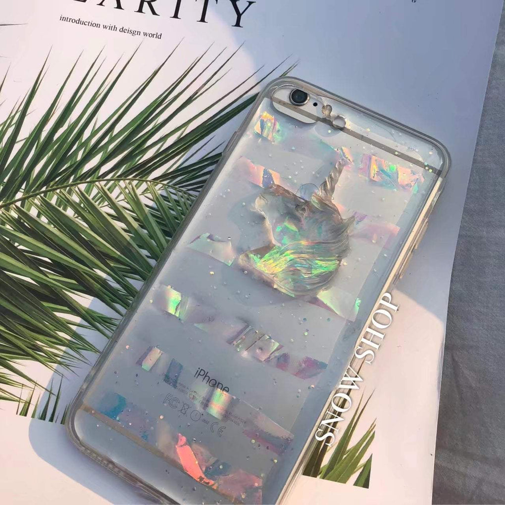 itGirl Shop UNICORN HOLOGRAPHIC GLITTER IPHONE COVER CASE