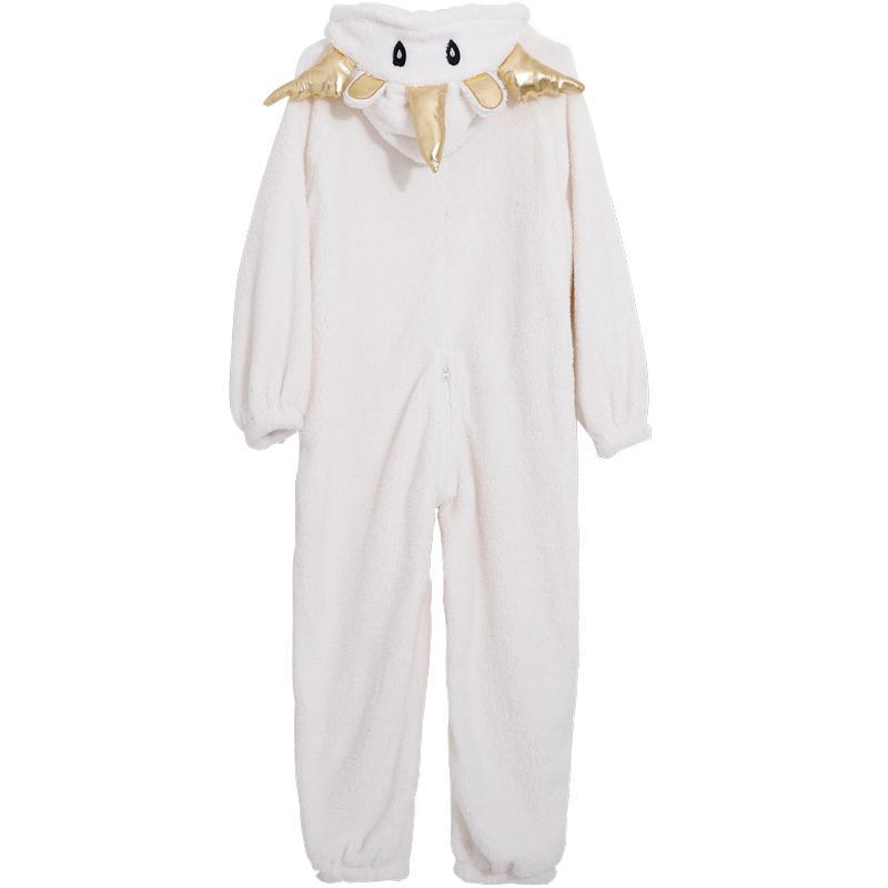 itGirl Shop UNICORN HOOD SOFT AESTHETIC PLUSH WHITE ONESIE PAJAMA