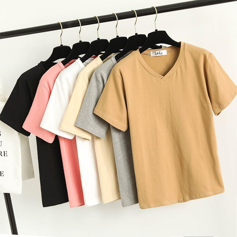 itGirl Shop V NECK COLORFUL BASIC COLORS SHORT SLEEVE T-SHIRTS