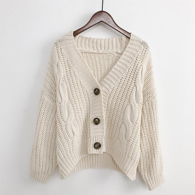 itGirl Shop   V NECK KNITTED BIG BUTTONS CROPPED CARDIGAN