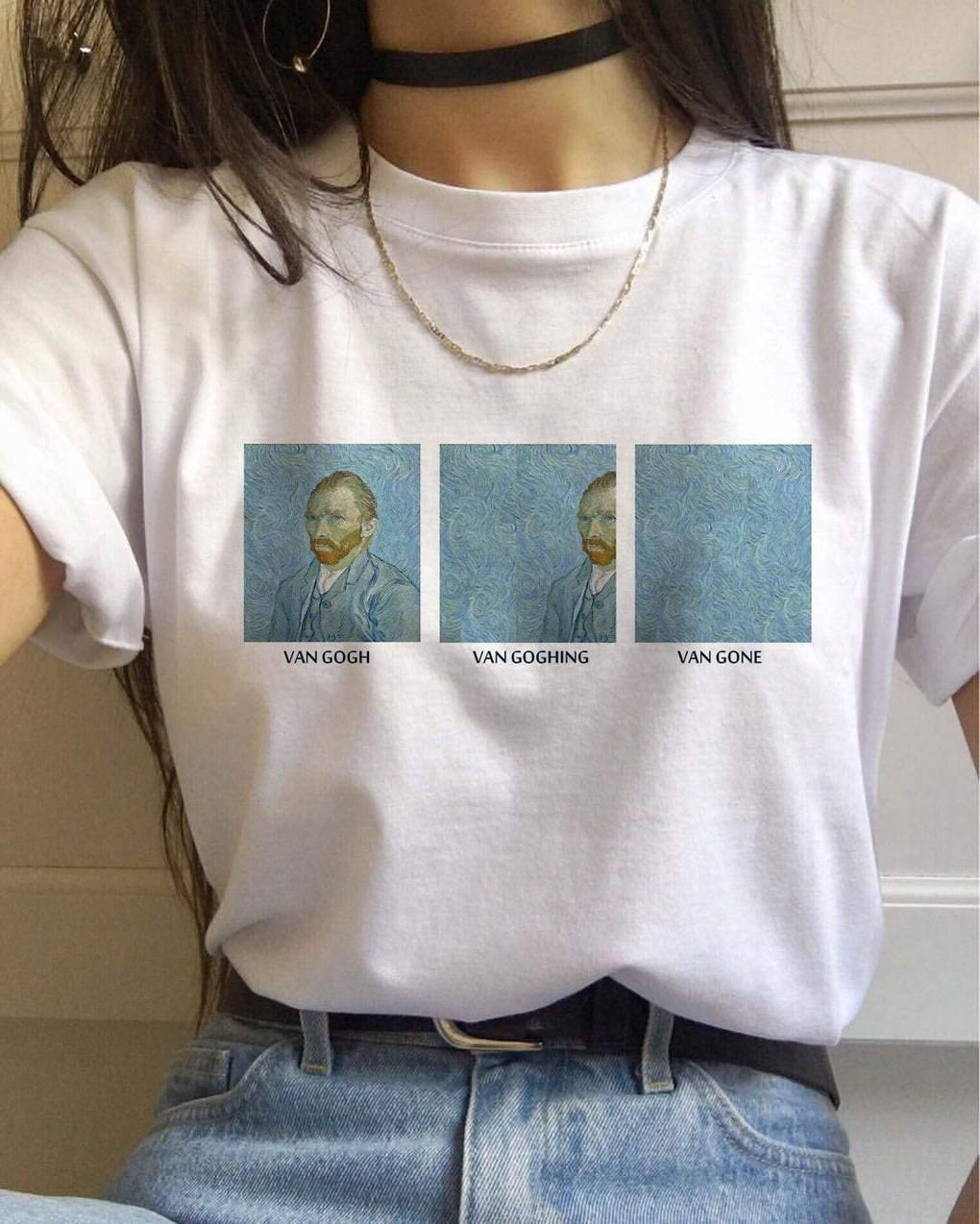 itGirl Shop VAN GOGH MEME TUMBLR AESTHETIC CASUAL WHITE T-SHIRT