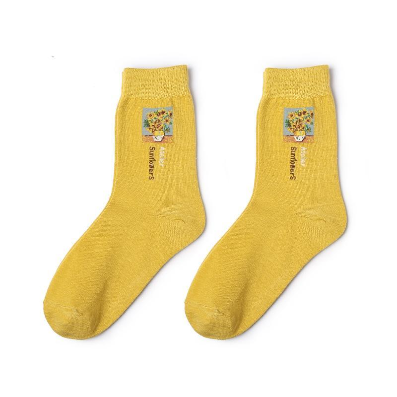 itGirl Shop VAN GOGH MONA LISA ART DRAWING SOCKS
