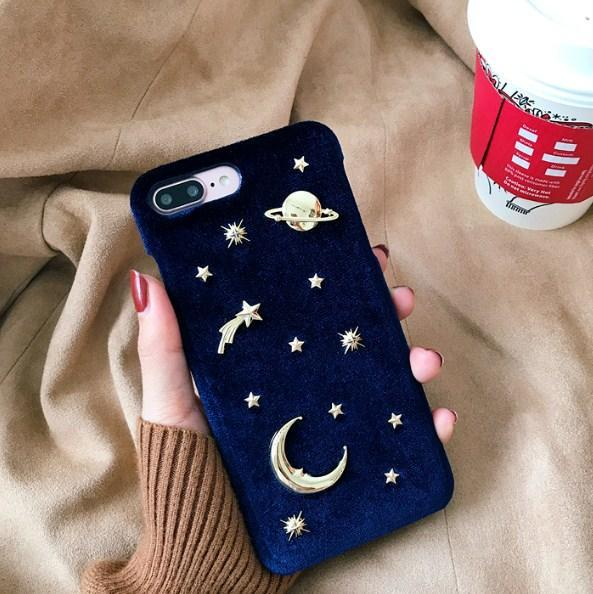 itGirl Shop VELVET RED GREEN BLUE STARS MOON NIGHT SKY METALLIC RIVETS IPHONE COVER