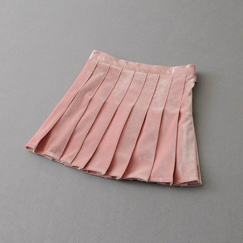itGirl Shop VELVET SHINY SOFT PLEATED SKIRT