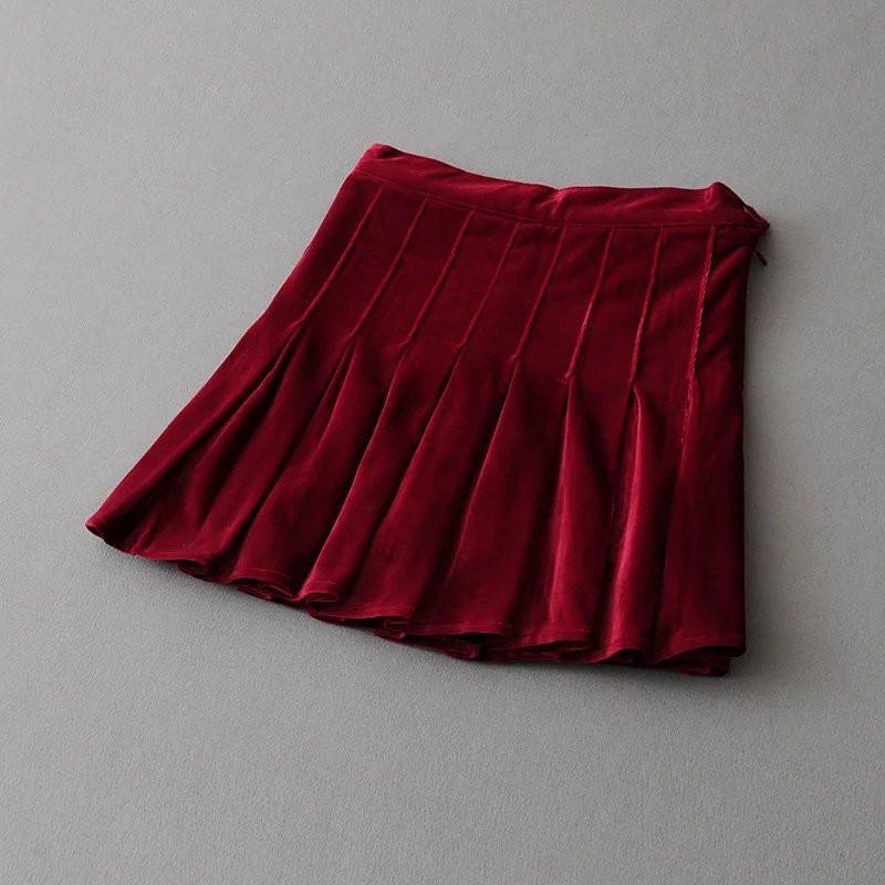 itGirl Shop VELVET SHINY SOFT PLEATED SKIRT Aesthetic Apparel, Tumblr Clothes, Soft Grunge, Pastel goth, Harajuku fashion. Korean and Japan Style looks