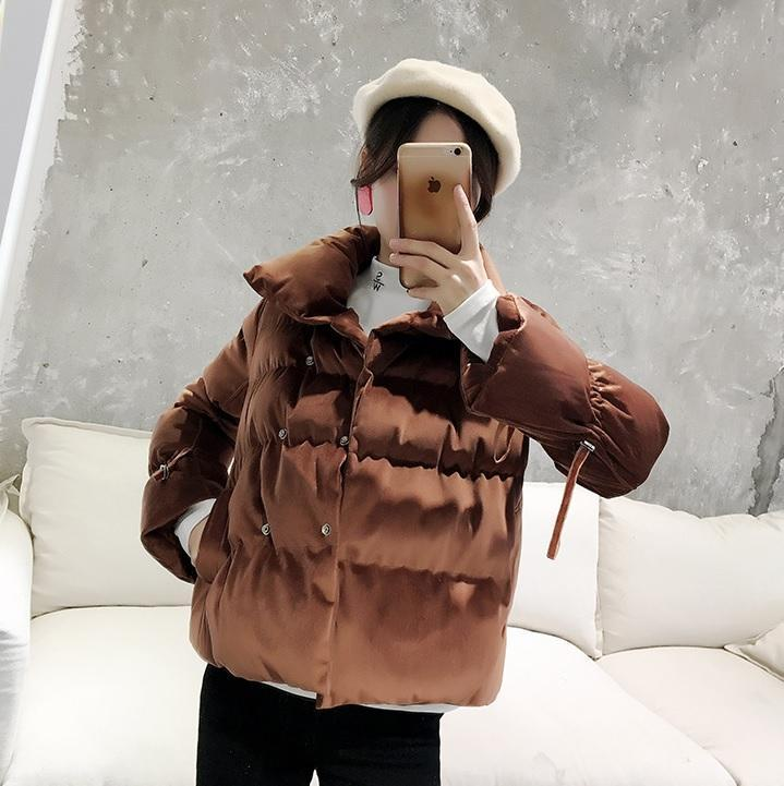 itGirl Shop VELVET SIDE ZIPPED WARM OUTWEAR JACKET