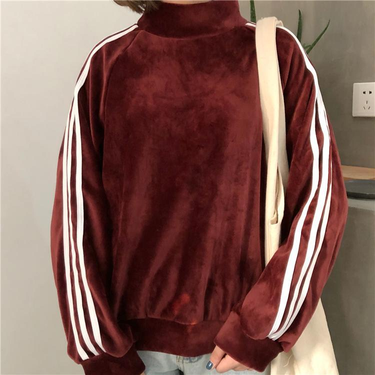 itGirl Shop VELVET SOFT PLUSH SPORTISH SLEEVE SIDE STRIPES OVERSIZED HOODIE