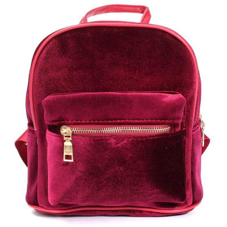 itGirl Shop VELVET ZIPPER BACKPACK