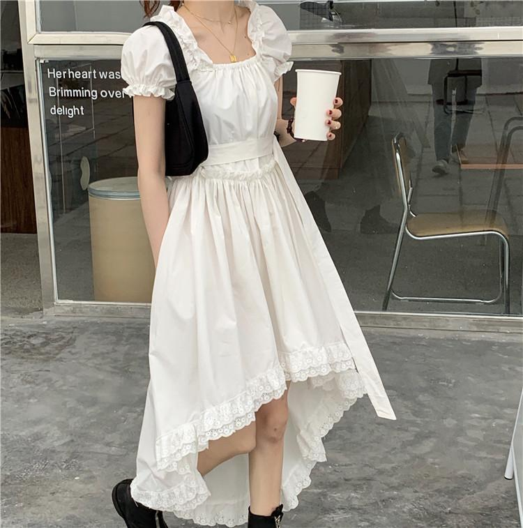 itGirl Shop VINTAGE AESTHETIC ASSYMETRICAL SKIRT THIN WHITE DRESS