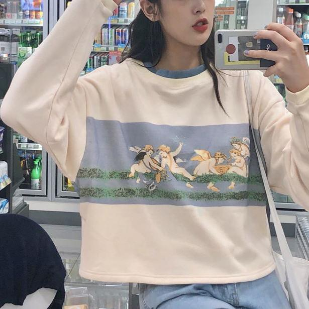 itGirl Shop VINTAGE ANGELS ART PRINTED CROPPED SWEATSHIRT