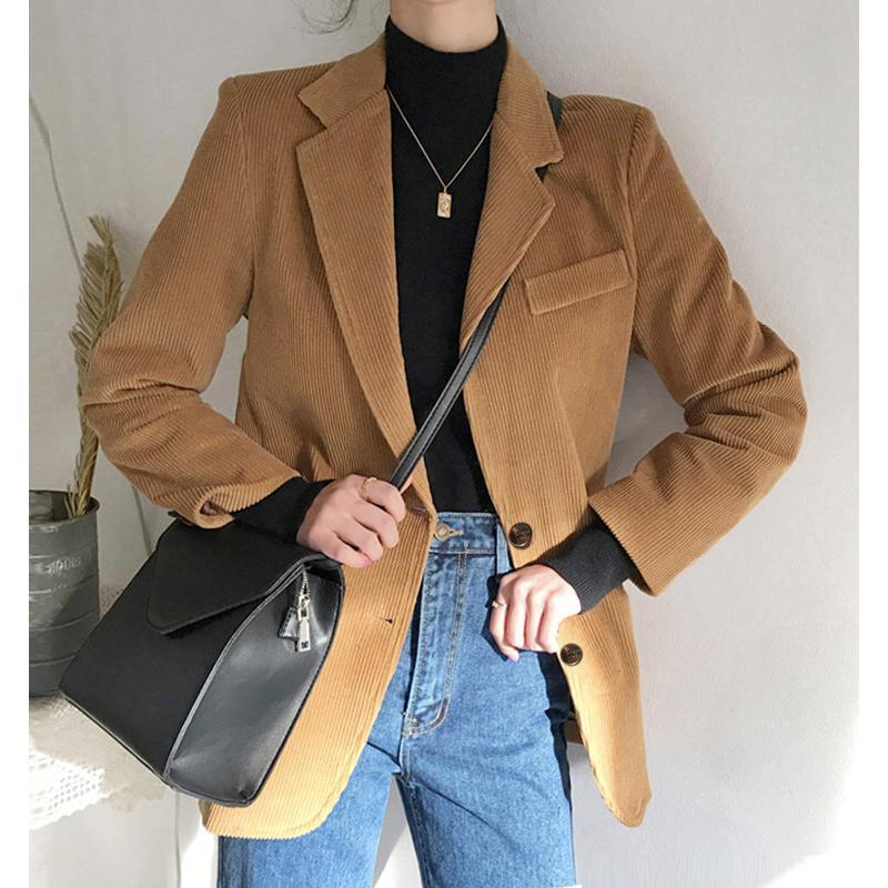 itGirl Shop VINTAGE CORDUROY BROWN BLUE BLAZER JACKET