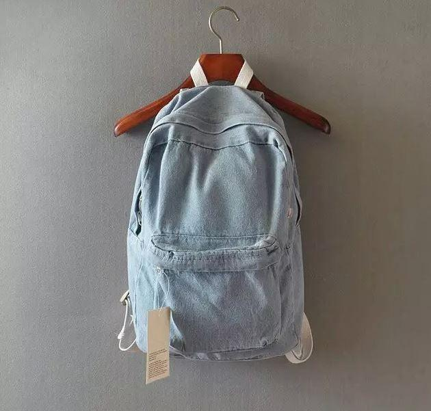 itGirl Shop VINTAGE DENIM SCHOOL BAG Aesthetic Apparel, Tumblr Clothes, Soft Grunge, Pastel goth, Harajuku fashion. Korean and Japan Style looks
