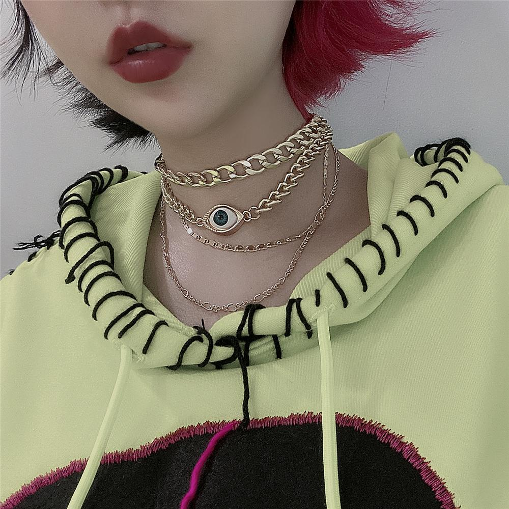 itGirl Shop VINTAGE EYE GOLDEN MULTILAYERED CHAINS CHOKER NECKLACE