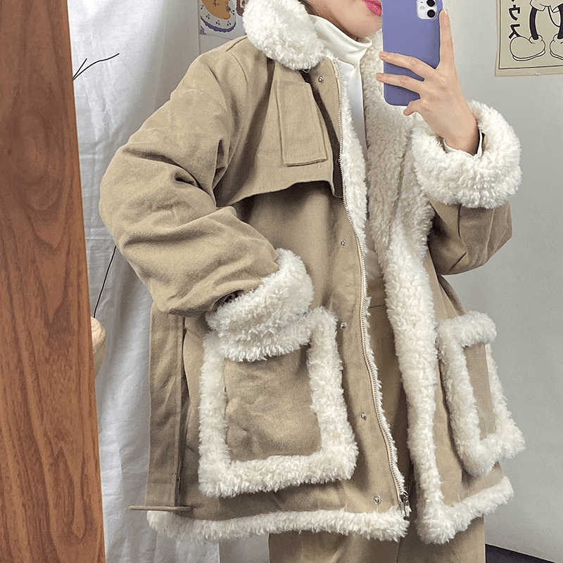 itGirl Shop VINTAGE FAUX FUR PADDED WAIST BELT LOOSE JACKET