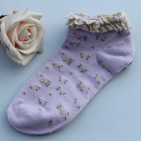 itGirl Shop VINTAGE FLORAL CURLY EDGE LOLITA SOCKS Aesthetic Apparel, Tumblr Clothes, Soft Grunge, Pastel goth, Harajuku fashion. Korean and Japan Style looks