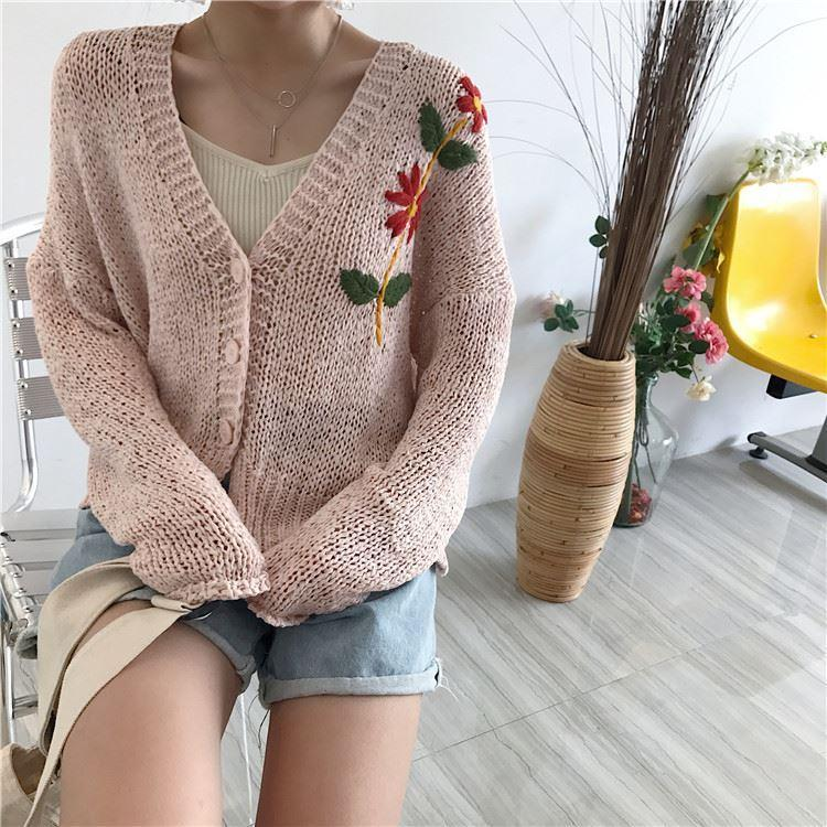itGirl Shop VINTAGE FLOWERS EMBROIDERY BUTTONS LONG SLEEVE CARDIGAN