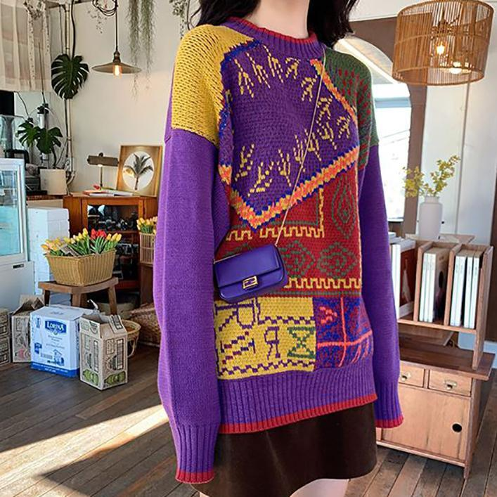 itGirl Shop VINTAGE GEOMETRIC PATTERN OVERSIZED WARM KNIT SWEATER