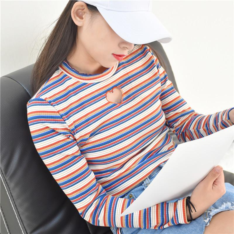 itGirl Shop VINTAGE HEART HOLE STRIPES SLIM LONG SLEEVE