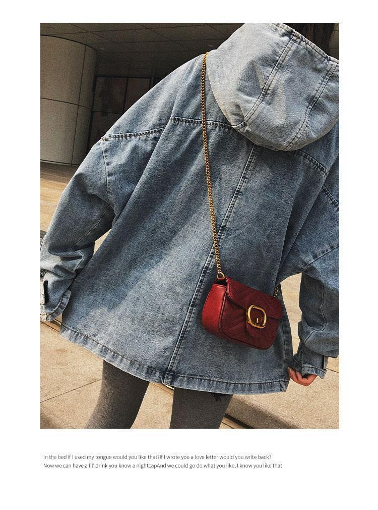 itGirl Shop VINTAGE HIGH COLLAR OVERSIZED DENIM BLUE JACKET