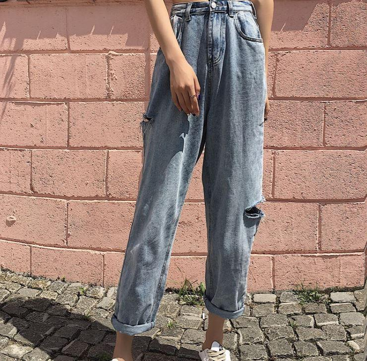 itGirl Shop VINTAGE OVERSIZED DENIM RIPPED HIGH WAIST JEANS