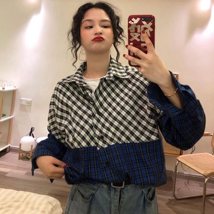 VINTAGE PLAID TURN DOWN COLLAR OVERISIZED SHIRT
