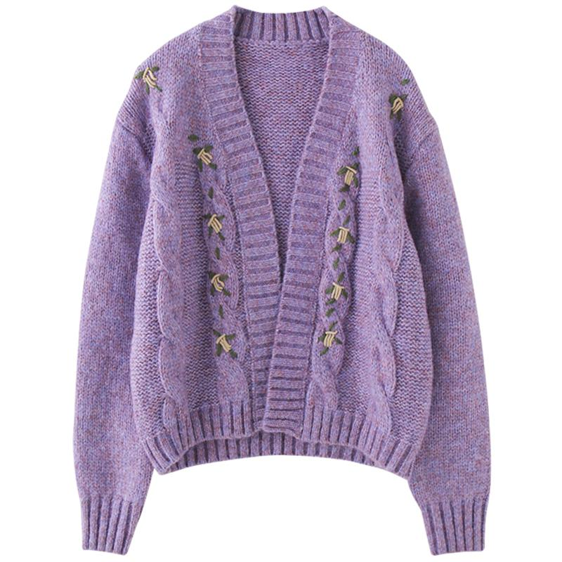 itGirl Shop VINTAGE PURPLE FLOWER EMBROIDERY KNITTED CARDIGAN