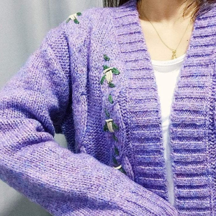 VINTAGE PURPLE FLOWER EMBROIDERY KNITTED CARDIGAN