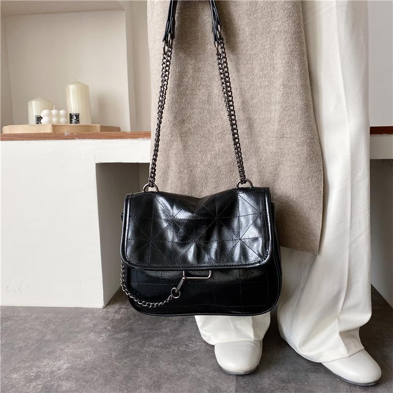 itGirl Shop VINTAGE QUILTED PU LEATHER THIN CHAIN STRAP SHOULDER BAG