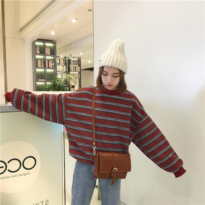 itGirl Shop VINTAGE RETRO WOOL KNIT STRIPES OVERSIZED O-NECK SWEATERS