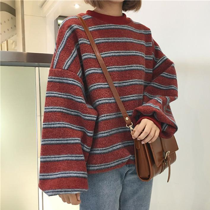 itGirl Shop VINTAGE RETRO WOOL KNIT STRIPES OVERSIZED O-NECK SWEATERS Aesthetic Apparel, Tumblr Clothes, Soft Grunge, Pastel goth, Harajuku fashion. Korean and Japan Style looks