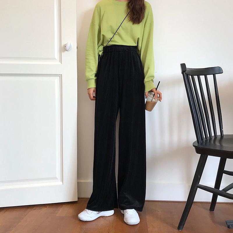 itGirl Shop VINTAGE VELVET HIGH ELASTIC WAIST LOOSE PANTS