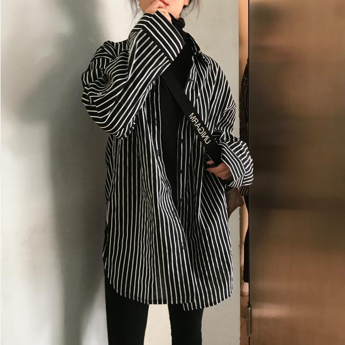 itGirl Shop VINTAGE VERTICAL THIN STRIPES OVERSIZED SHIRT