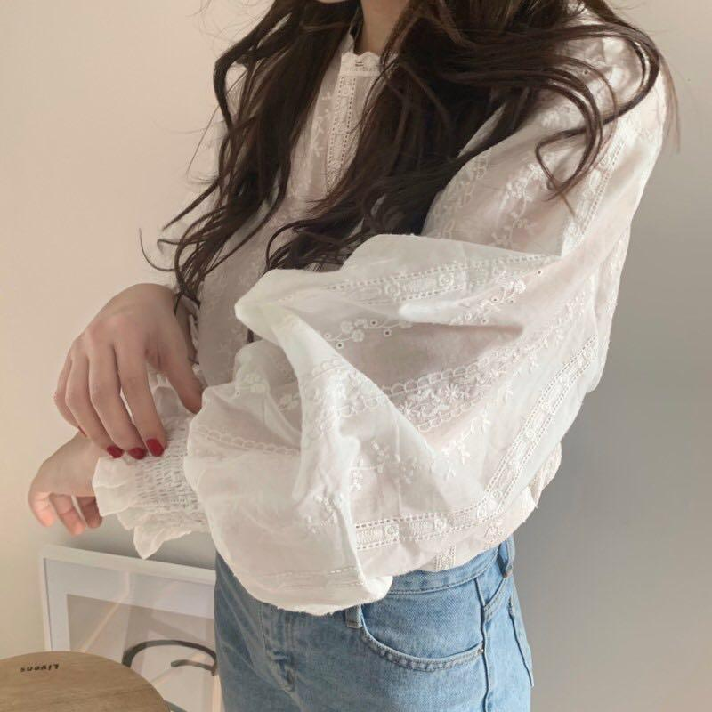itGirl Shop VINTAGE WHITE LANTERN SLEEVES LACE BLOUSE