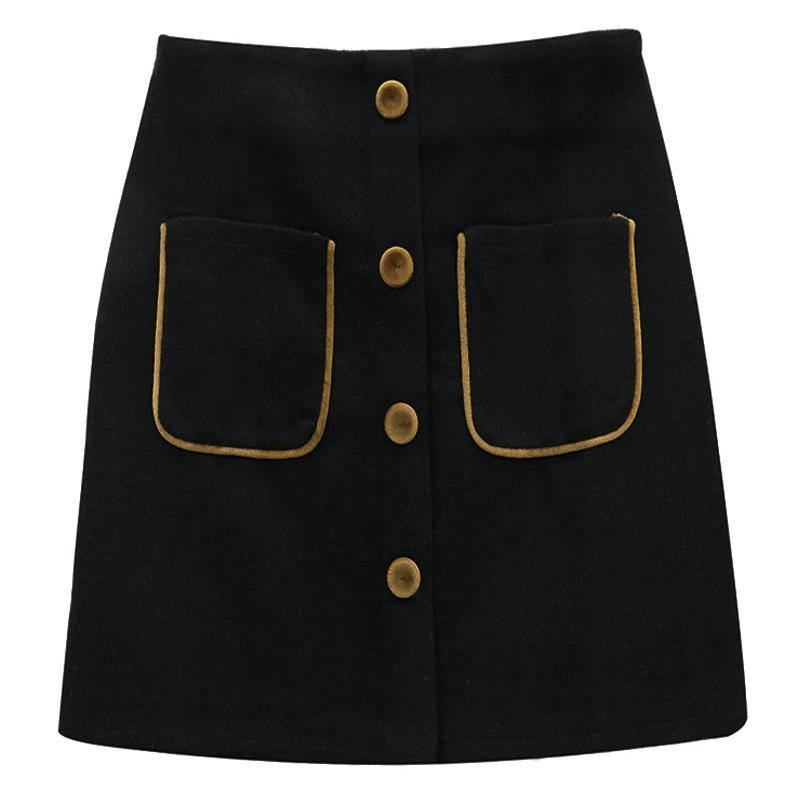 itGirl Shop VINTAGE WOOLEN A LINE HIGH WAIST SKIRT WITH BUTTONS
