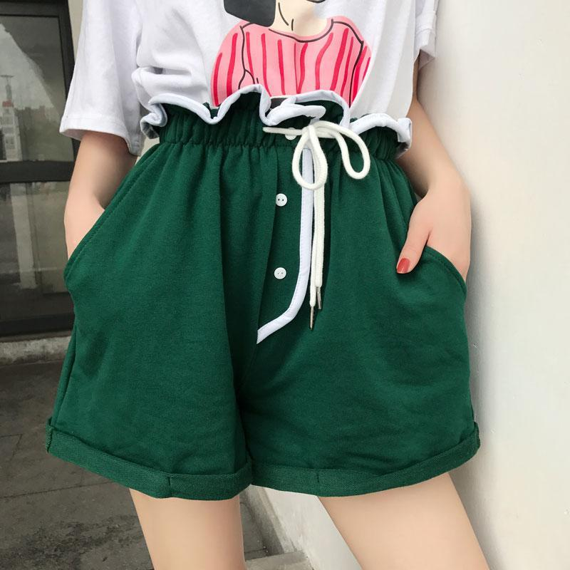 itGirl Shop VOLUME HIGH WAIST LACE UP CURLY EDGE SUMMER SHORTS