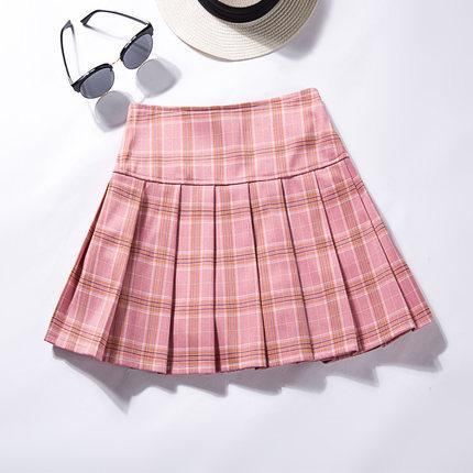itGirl Shop WAIST SLIM PLEATED SCHOOL TARTAN PLAID SKIRT