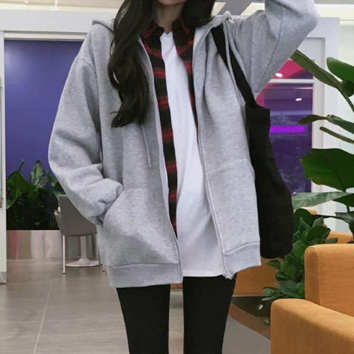 itGirl Shop WARM BASIC FLEECE OVERSIZED ZIPPER HOODIE