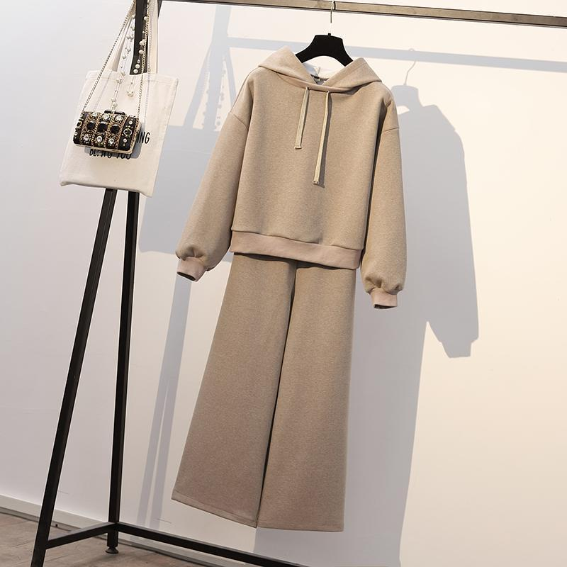 itGirl Shop WARM BEIGE BLACK HOODIE+WIDE LEG PANTS SET
