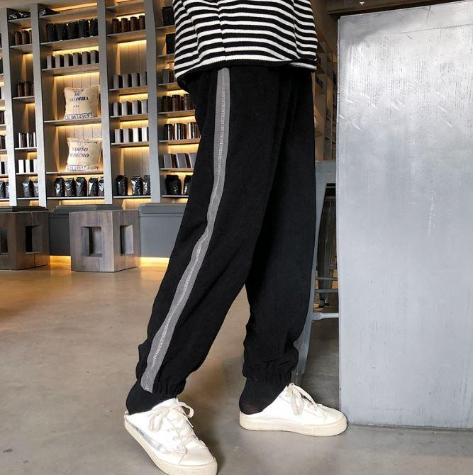 itGirl Shop WARM CASUAL STYLE SIDE STRIPES LOOSE PANTS